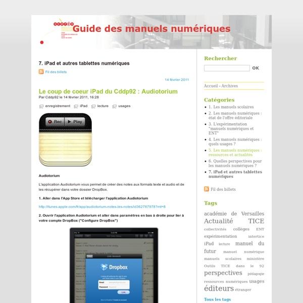 7. iPad et autres tablettes numériques - Guide des manuels numériques