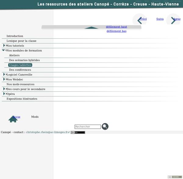 Usages tablettes [Les ressources des ateliers Canopé - Corrèze - Creuse - Haute-Vienne]