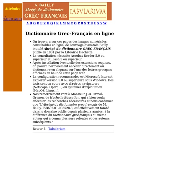 Tabularium : dictionnaire Bailly
