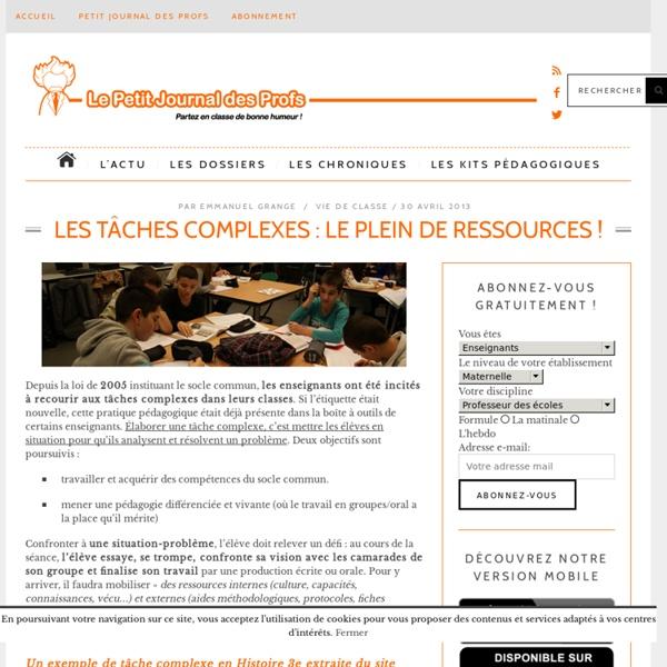 Les tâches complexes : le plein de ressources !