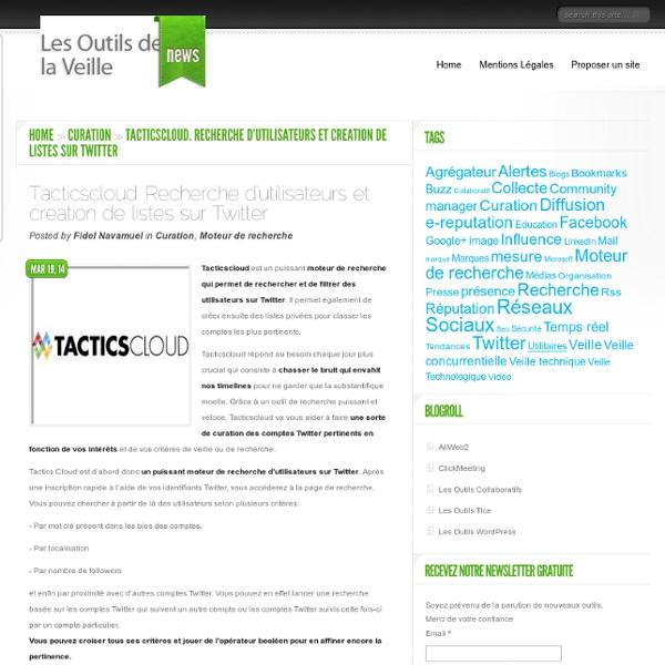 Tacticscloud. Recherche d'utilisateurs et creation de listes sur Twitter