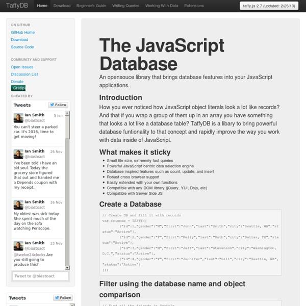 TaffyDB - The JavaScript Database