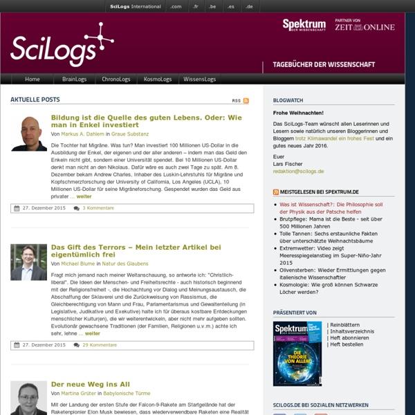 Tagebücher der Wissenschaft › SciLogs - Wissenschaftsblogs