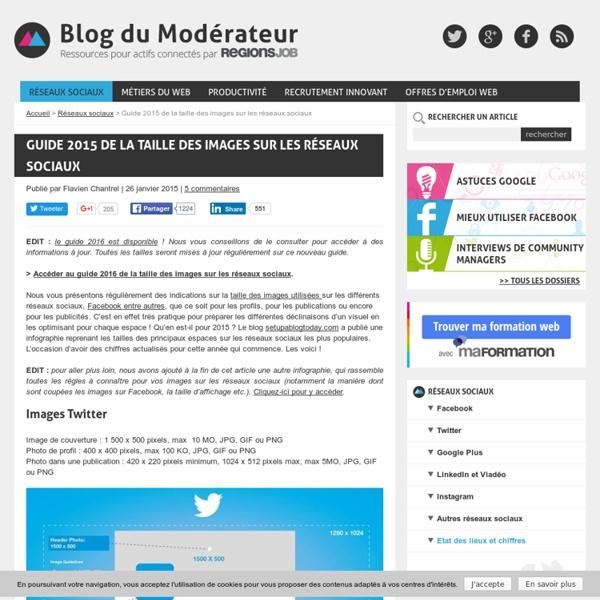 Guide 2015 de la taille des images sur les réseaux sociaux