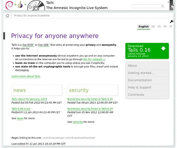 Tails - Confidentialité et anonymat, pour tous et partout