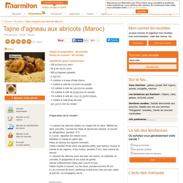 Tajine d'agneau aux abricots (Maroc) - Recette de cuisine Marmit