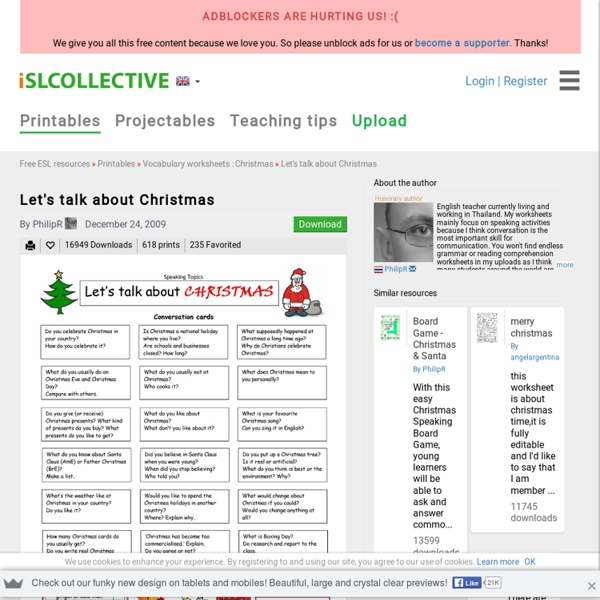 Let's talk about Christmas worksheet