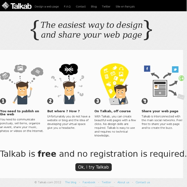 Talkab, design and share beautifuls web pages
