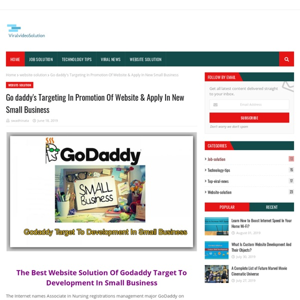 Go daddy's Targeting In Promotion Of Website & Apply In New Small Business