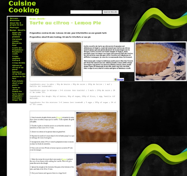 Tarte au citron - Lemon Pie - Cuisine Cooking