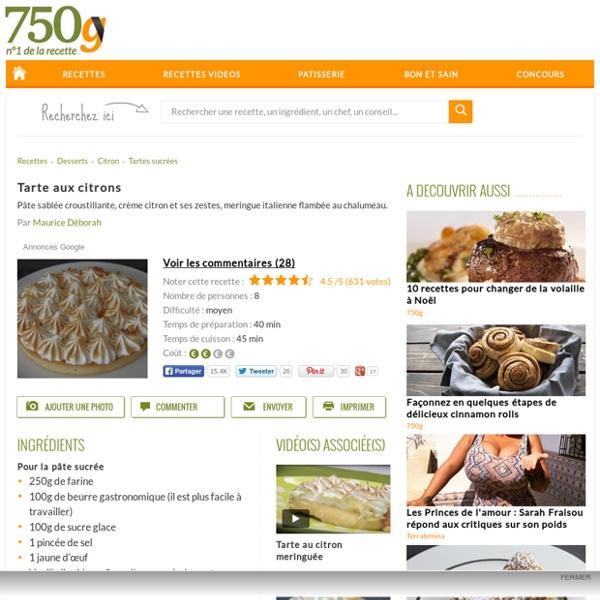 Tarte aux citrons - Notée 4.6/5 par les internautes