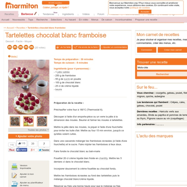 Tartelettes chocolat blanc framboise : Recette de Tartelettes chocolat blanc framboise
