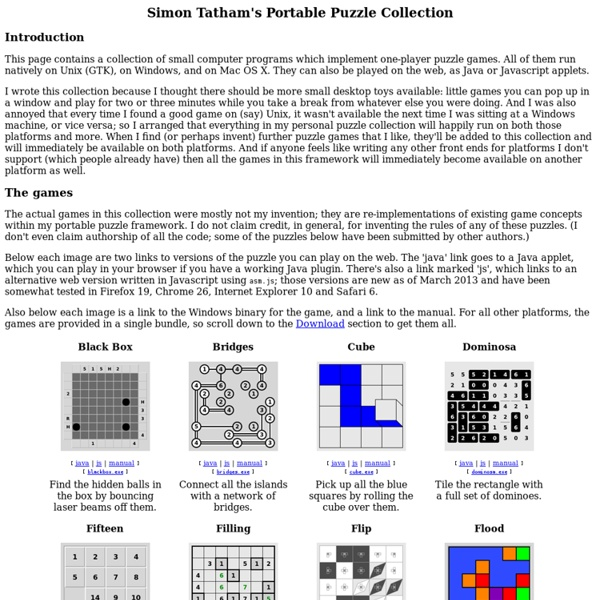 Simon Tatham's Portable Puzzle Collection