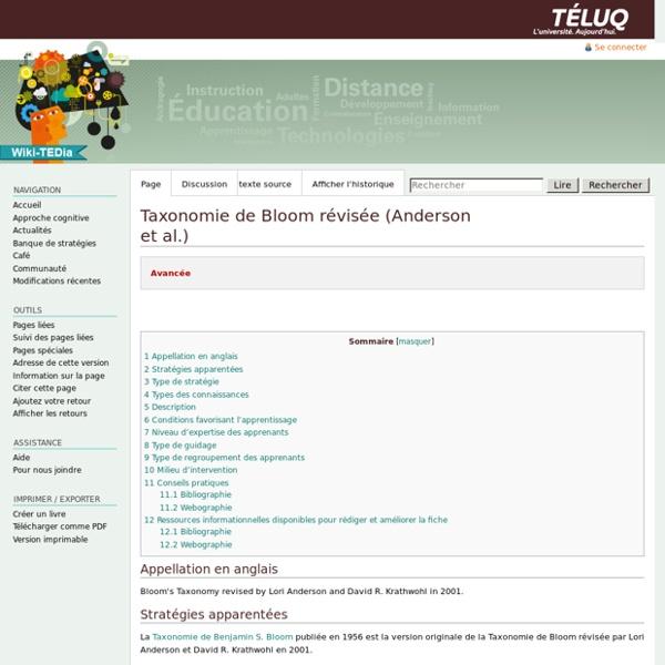 Taxonomie de Bloom révisée (Anderson et al.) — ted6210