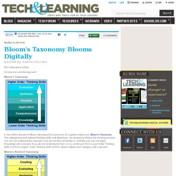 Bloom's Taxonomy Blooms Digitally