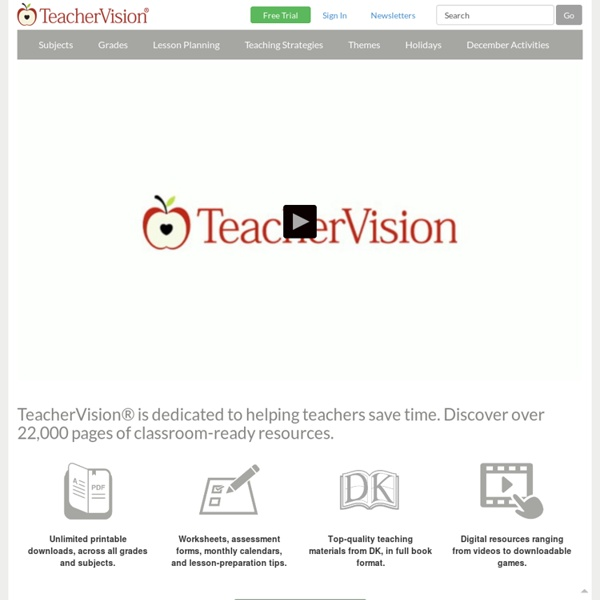Teacher Lesson Plans, Printables & Worksheets by Grade or Subject - TeacherVision.com