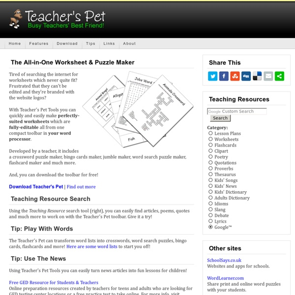 Teacher's Pet - Free Worksheet & Puzzle Maker