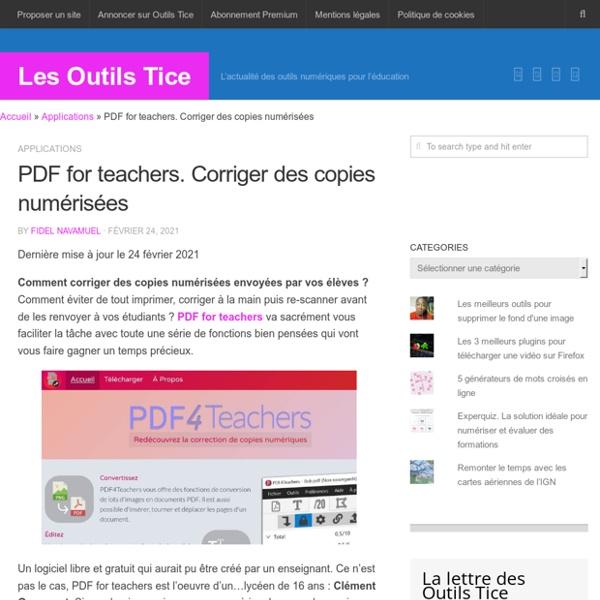 PDF for teachers. Corriger des copies numérisées