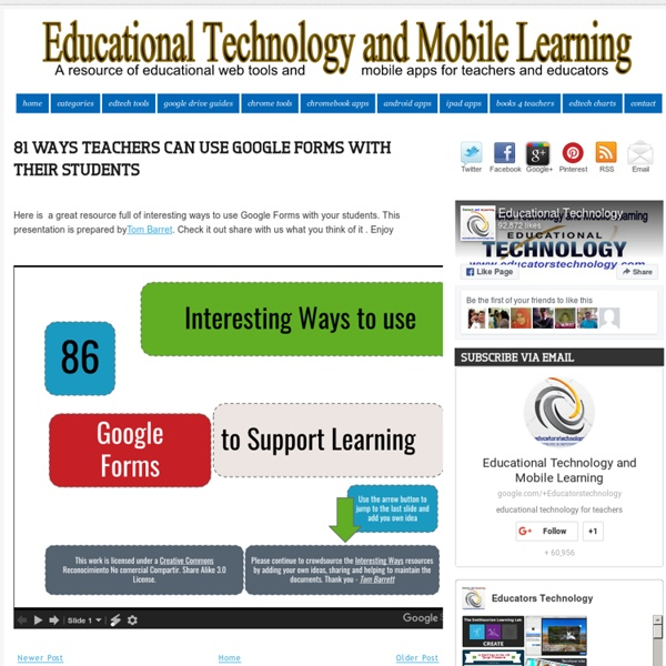 Educational Technology and Mobile Learning: 81 Ways Teachers Can Use Google Forms with Their Students
