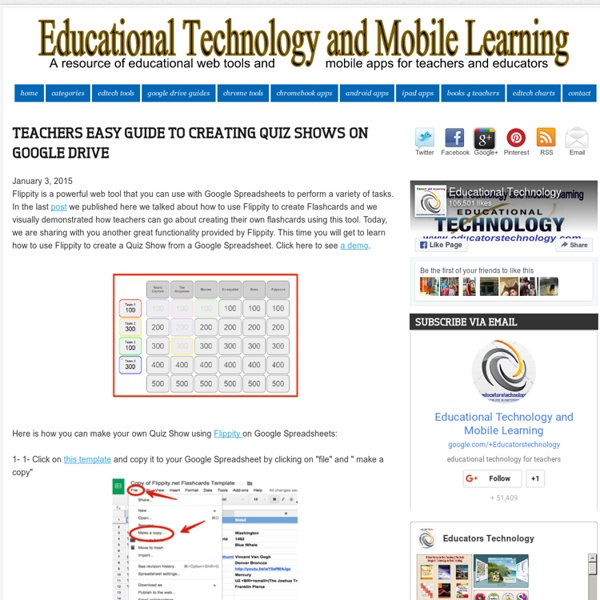 Teachers Easy Guide to Creating Quiz Shows on Google Drive
