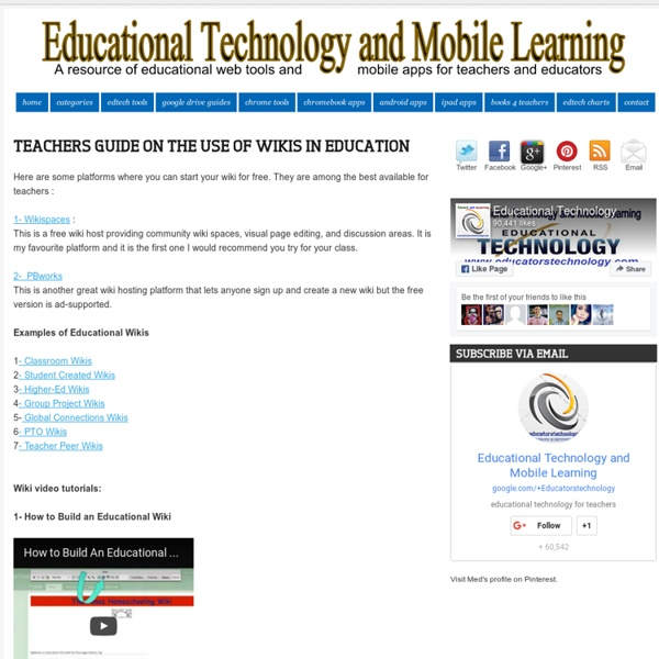 Teachers Guide on The Use of Wikis in Education