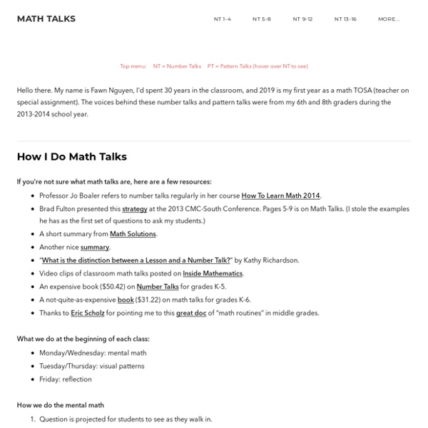 TEACHERS - Math Talks