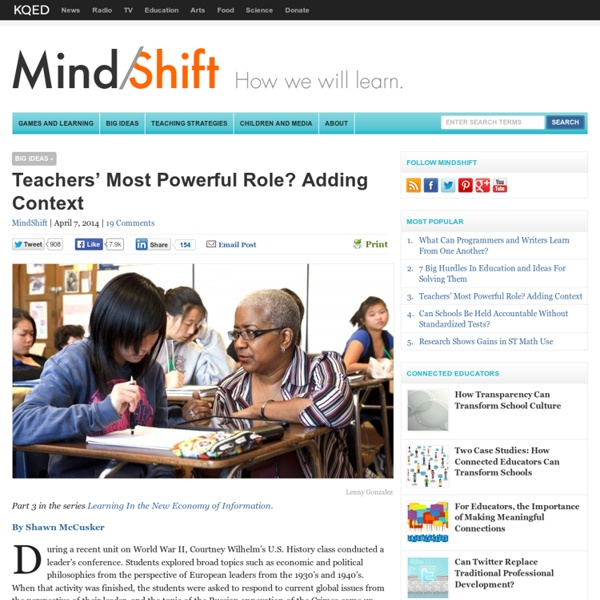 Teachers' Most Powerful Role? Adding Context