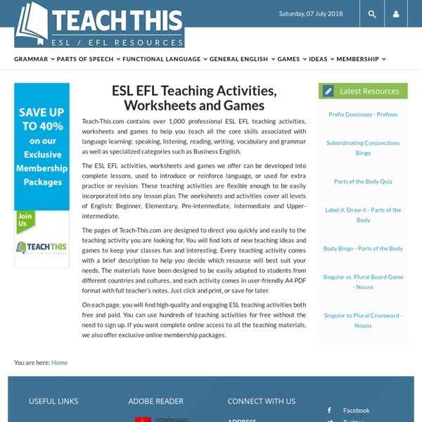 ESL EFL Teaching Activities Worksheets Lessons Games