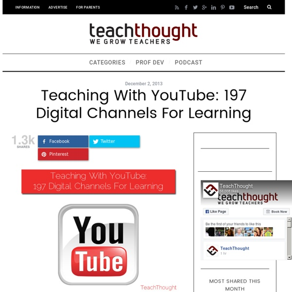Teaching With YouTube: 197 Digital Channels For Learning