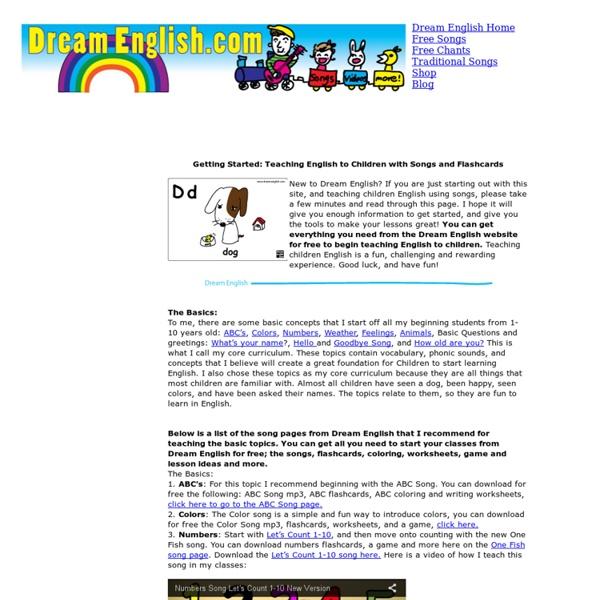 Teaching Children Basic English, ideas and free materials