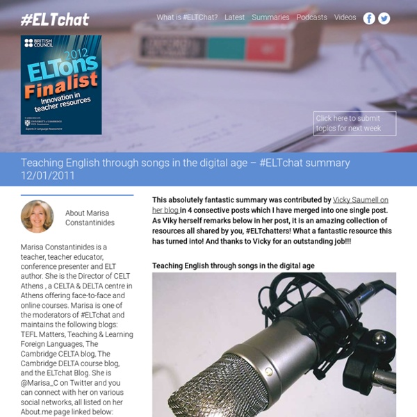 » Teaching English through songs in the digital age – #ELTchat summary 12/01/2011