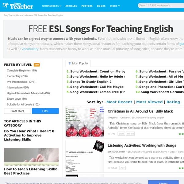1,727 FREE ESL Songs For Teaching English Worksheets