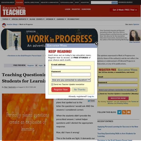 Teaching Questioning Skills to Arm Students for Learning - Work in Progress