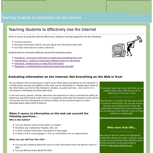 Teaching Students to Use the Internet