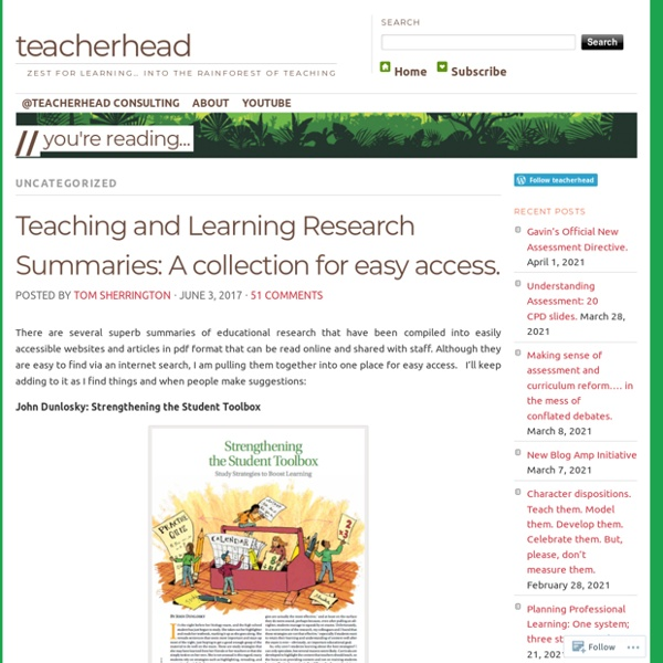 Teaching and Learning Research Summaries: A collection for easy access. – teacherhead