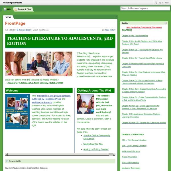 Teachingliterature / FrontPage