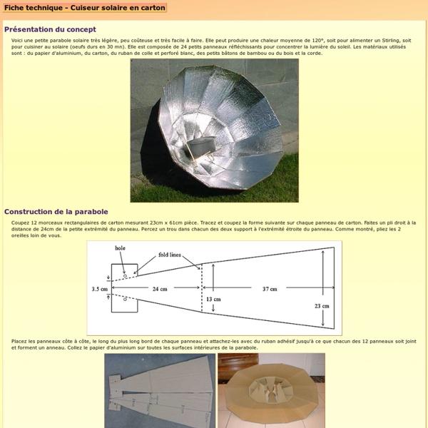 Fiche technique - Cuiseur solaire en carton