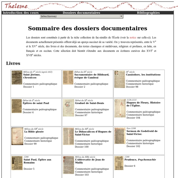 THELEME : Techniques pour l'Historien En Ligne, Etudes, Manuels, Exercices