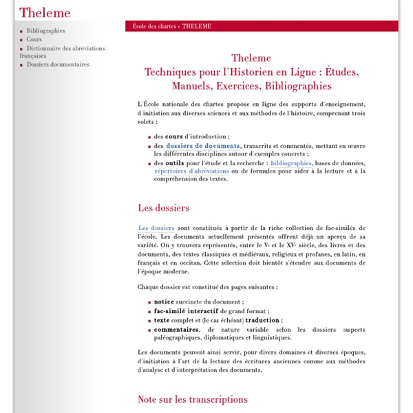Techniques pour l'Historien en Ligne (Theleme)