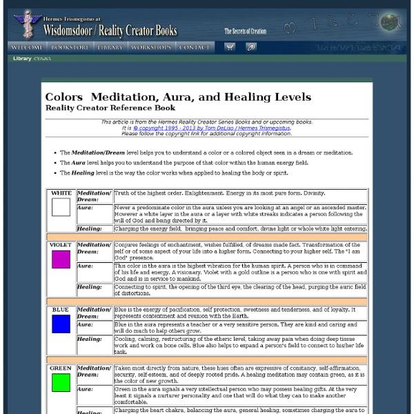Techniques & Charts: Colors Meditation, Aura, and Healing Levels