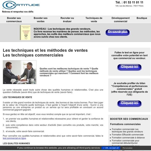 Les techniques et méthodes de vente, les techniques commerciales