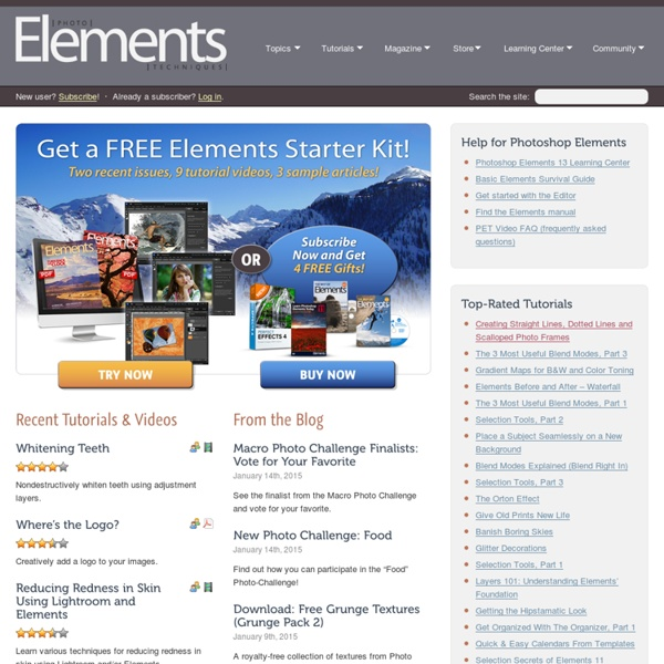 Photoshop Elements Techniques, Tutorials, Downloads, Video Tips, Newsletter and more - Photoshop Elements User