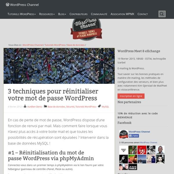 Réinitialiser votre mot de passe WordPress
