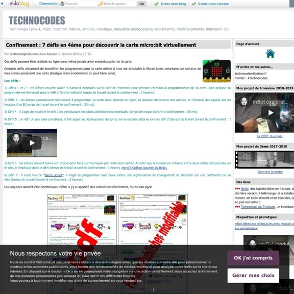 TECHNOCODES - Un projet de technologie en troisième de collège... et mes pérégrinations sur le web...