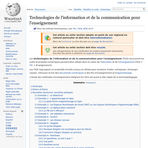 Technologies de l'information et de la communication pour l'enseignement