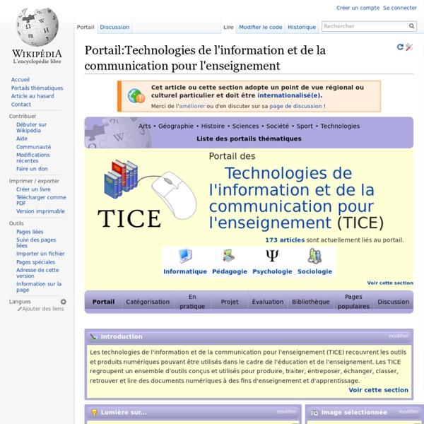Portail:Technologies de l'information et de la communication pour l'enseignement