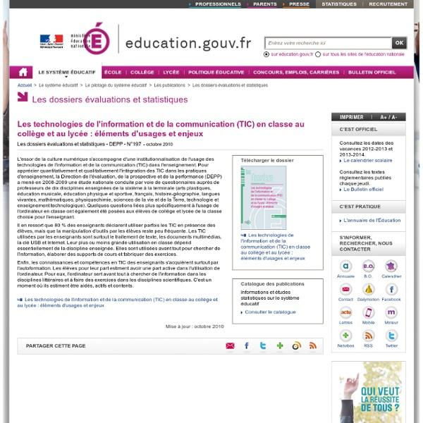 Les technologies de l'information et de la communication (TIC) en classe au collège et au lycée : éléments d'usages et enjeux