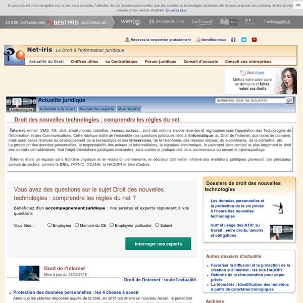 Droit des nouvelles technologies : l'actualité du Droit par Net-iris