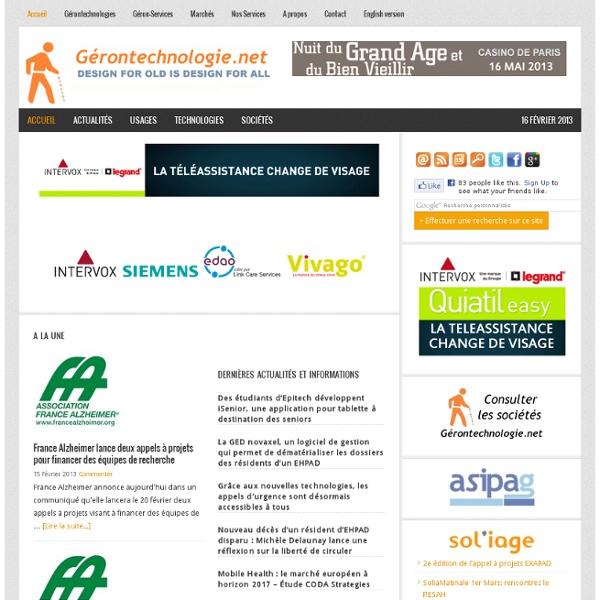 Le portail d'information sur les technologies pour l'autonomie dédiées au grand âge, et les gérontechnologies