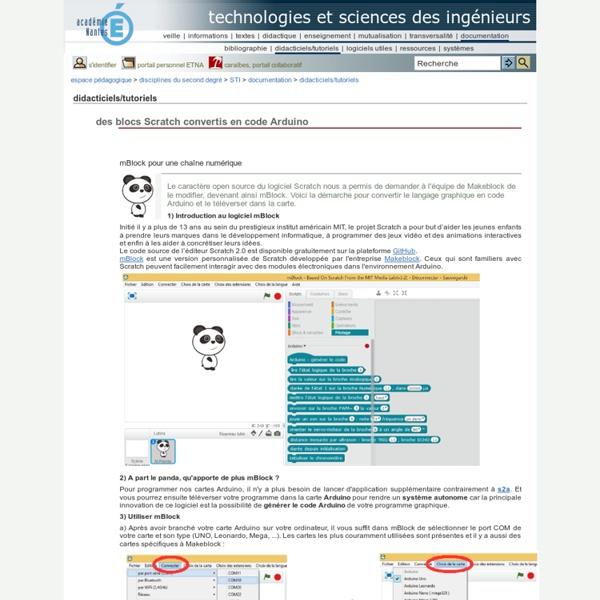 Technologies et sciences des ingénieurs - des blocs Scratch convertis en code Arduino